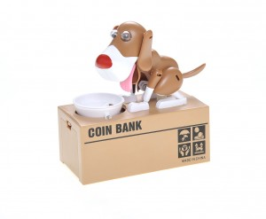 My Dog Piggy Bank - Robotic Coin Munching Toy Money Box (White Brown)