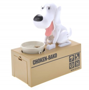 My Dog Piggy Bank - Robotic Coin Munching Toy Money Box (White)