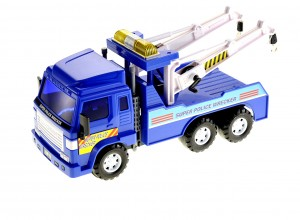 Big Heavy Duty Wrecker Tow Truck Police Toy for Kids with Friction Power (With Double Hooks)