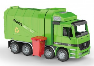 Friction Powered Recycling Garbage Truck With Side Loading And Back Dump For Kids