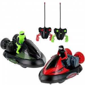 Set of 2 Remote Control Bumper Cars W/ Crash Sound Effects And Ejecting Drivers