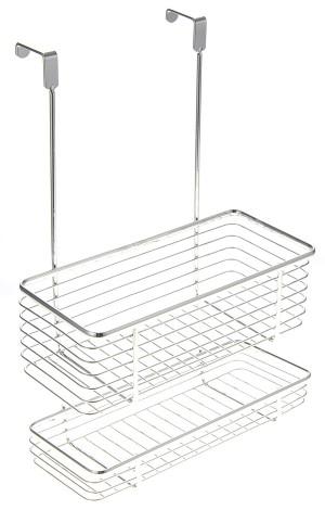 Chrome Cabinet Storage Basket w/ Two Shelves