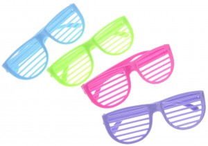 Plastic Shutter Shades Glasses (12Pairs/PK, Purple,Blue,Green, And Pink)
