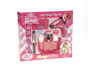 Beauty Salon Fashion Set With Hair Dryer, Curling Iron, Mirror, Scissors, Hair Brush, And More