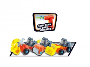 3-in-1 Take-A Part Construction Toy Truck With Power Tool (Bulldozer + Excavator + Roller)