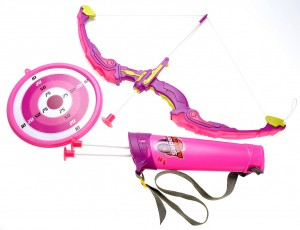 Bow and Arrow Dart Playset w/ Holder and Target Pink