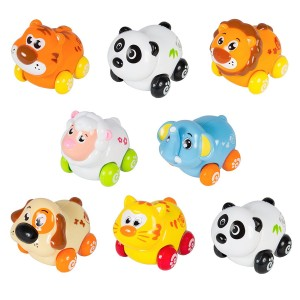 Cartoon Animals Friction Push And Go Toy Cars Play Set (Set of 8) Panda, Cat, Elephant, Dog, Lion, Tiger and Sheep
