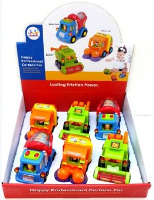 Push And Go Friction Powered Trucks (Cement Mixer, Sweeper, And Harvester)