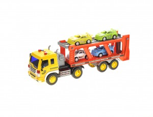 1:16 2-in-1 Friction Powered Transporter Truck With Lights And Sounds