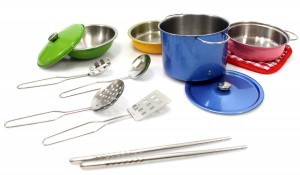 Metal Pots and Pans Kitchen Cookware Playset