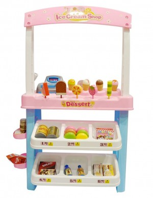 Ice Cream Shop 47 Piece Luxury Grocery Supermarket Pretend Playset (Pink)