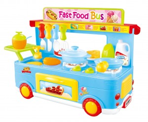 Fast Food Bus Kitchen Play Set Toy 29pcs Blue