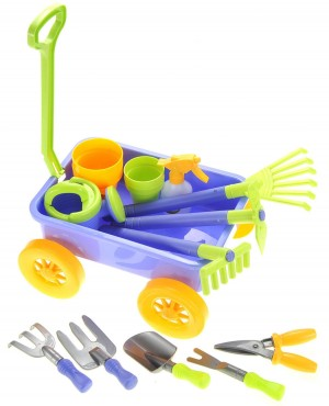 Garden Wagon & Tools Toy Set for Kids with 8 Gardening Tools, 4 Pots, Water Pail and Spray